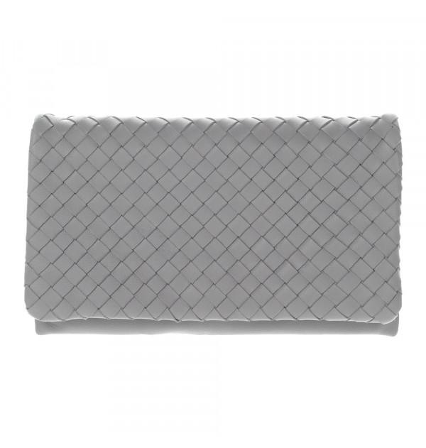 Abro Leather Piuma Woven Clutch grau 23cm