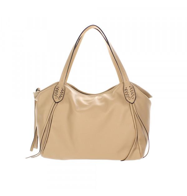 Abro Velvet Handtasche beige 32cm